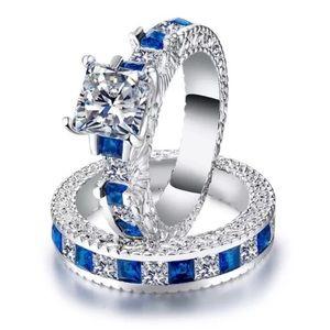 Set  925 Silver Princess Cut White Sapphire Ring